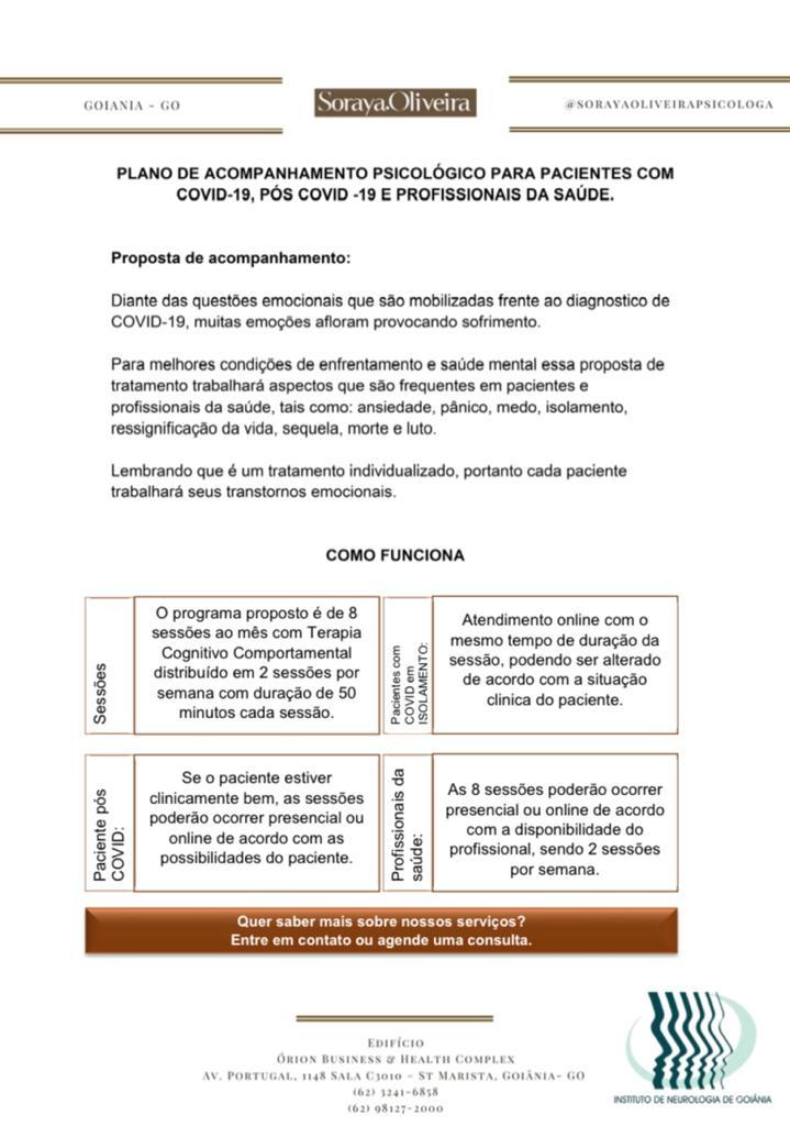Acompanhamento Psicológico para pacientes com COVID-19, PÓS COVID-19 e profissionais da saúde